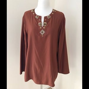 NWT! Chico's SZ 3, Miya LS  tunic with sequins